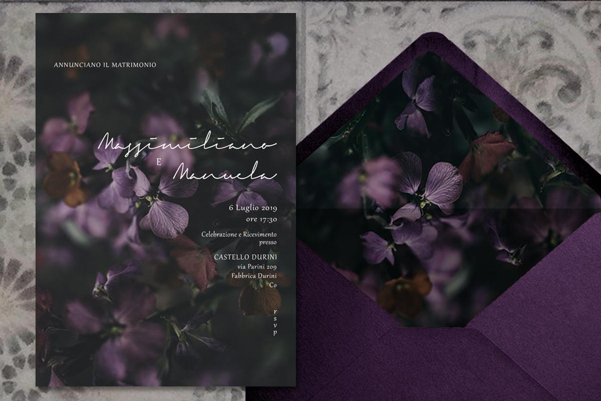 invito di matrimonio in stile botanico dark