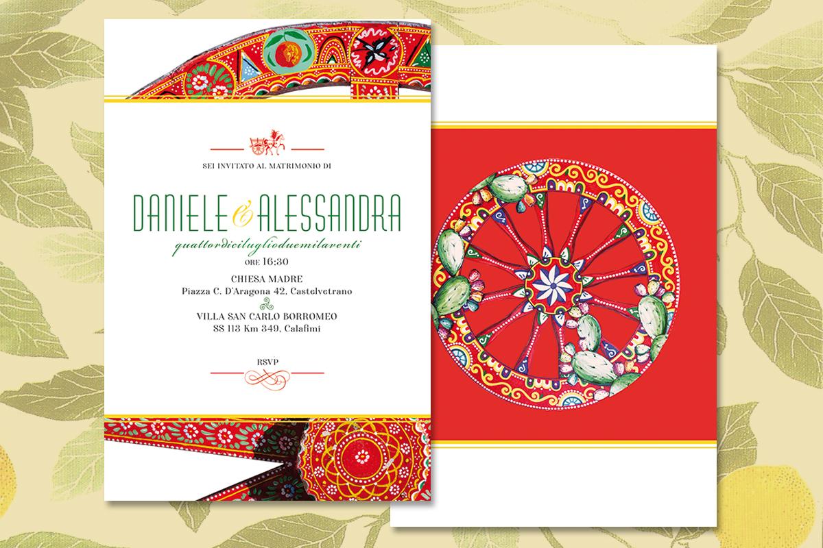 Invito di matrimonio in stile siciliano, carretto siciliano