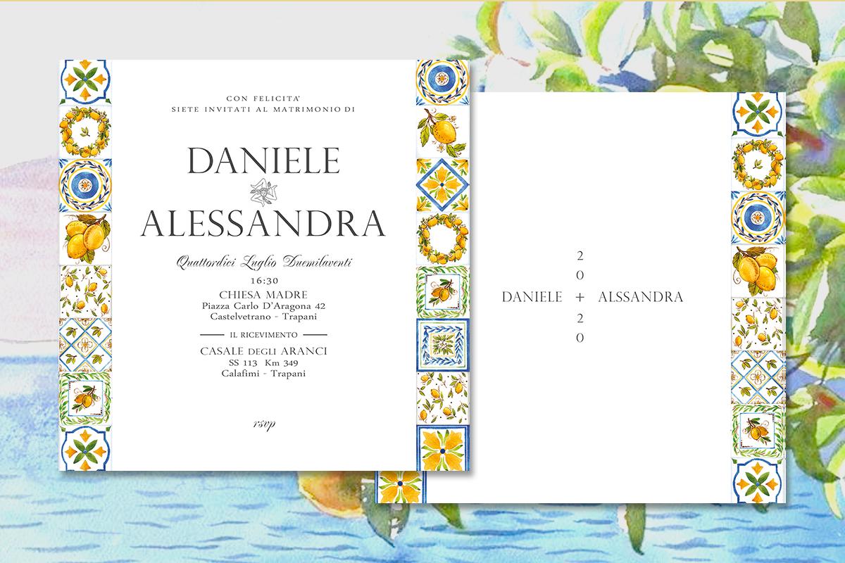 invito di matrimonio in stile siciliano con maioliche