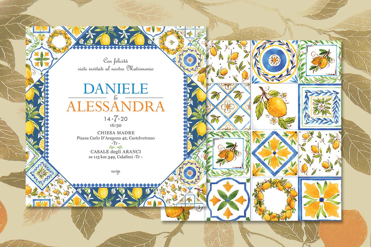 invito di matrimonio in stile siciliano